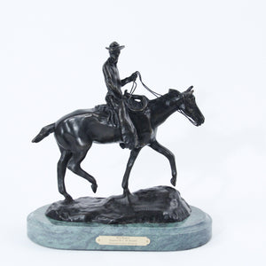 Will rogers sculpture statue replica bronze by Charles Russell soapsuds horseback riding green marble base