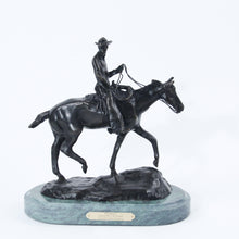 Load image into Gallery viewer, Will rogers sculpture statue replica bronze by Charles Russell soapsuds horseback riding green marble base