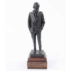 Will Rogers standing sculpture replica statue bronze wooden base small
