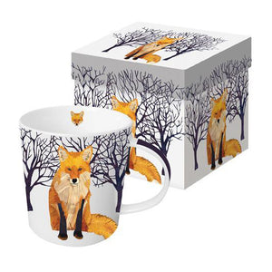 winter fox mug gift boxed gift coffee tea hot chocolate snowy forest ceramic cup