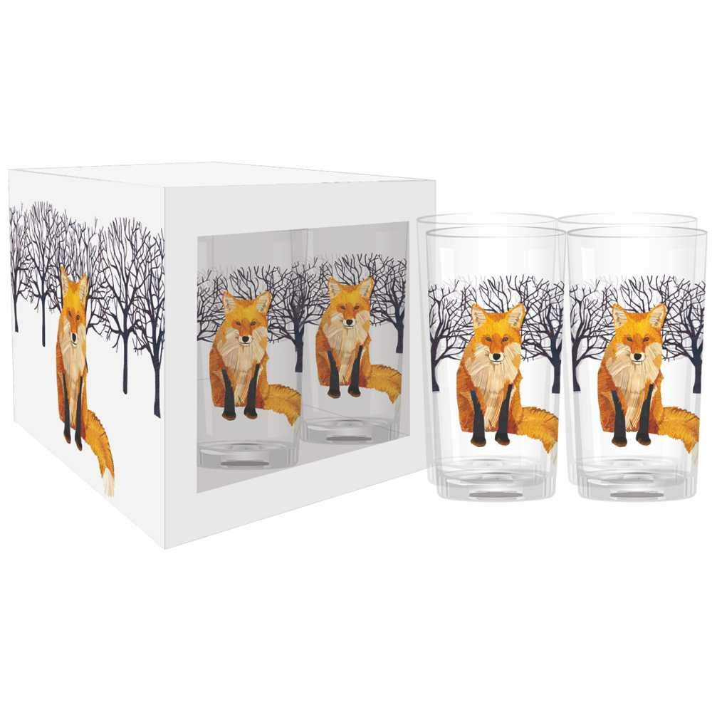 winter fox drinking glass set of four 4 cups home goods kitchen wedding present