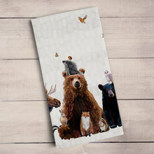 Load image into Gallery viewer, woodland bunch tea towel kitchen towel bear moose fox owl animals