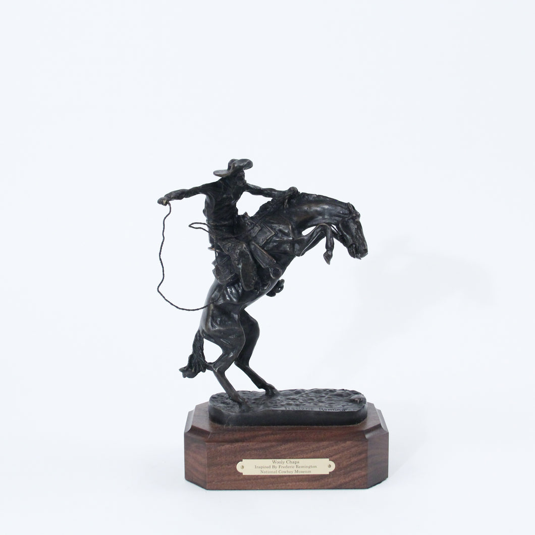Wooly Chaps boncho buster frederic remington sculpture replica bronze wooden base