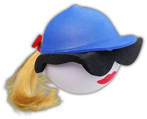 Coolballs Blonde Pony Tail Blue Cap Car Antenna Topper / Desktop Spring Stand Bobble