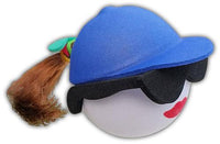 Coolballs Brunette Pony Tail Blue Cap Car Antenna Topper / Desktop Spring Stand Bobble