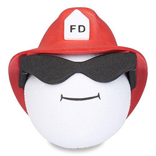 Coolballs Fireman w/ Glasses Red Helmet Car Antenna Topper / Desktop Spring Stand Bobble