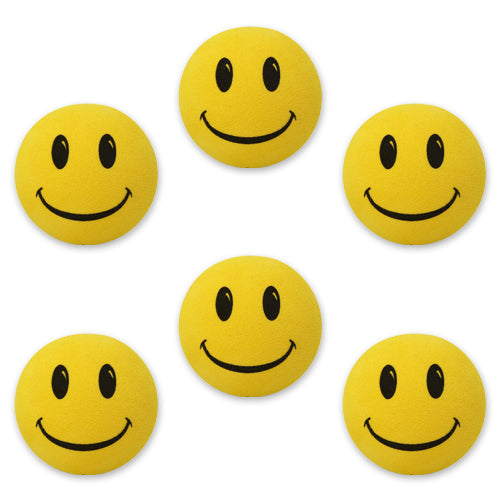 HappyBalls Happy Smiley Happy Face Car Antenna Toppers / Desktop Spring Stands Bobble (Pack of 6 Yellow)