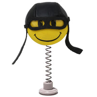 HappyBalls Biker / Pilot Car Antenna Topper / Desktop Spring Stand Bobble