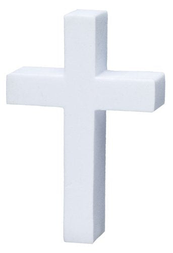 Tenna Tops White Christian Cross Car Antenna Topper / Desktop Spring Stand Bobble