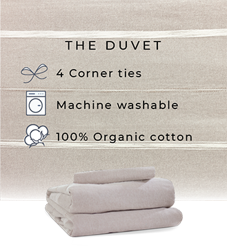 the duvet - 4 corner ties - machine washable - 100% organic cotton - taupe duvet cover and sham set with white striped on bed - folded duvet set in taupe and white stripe