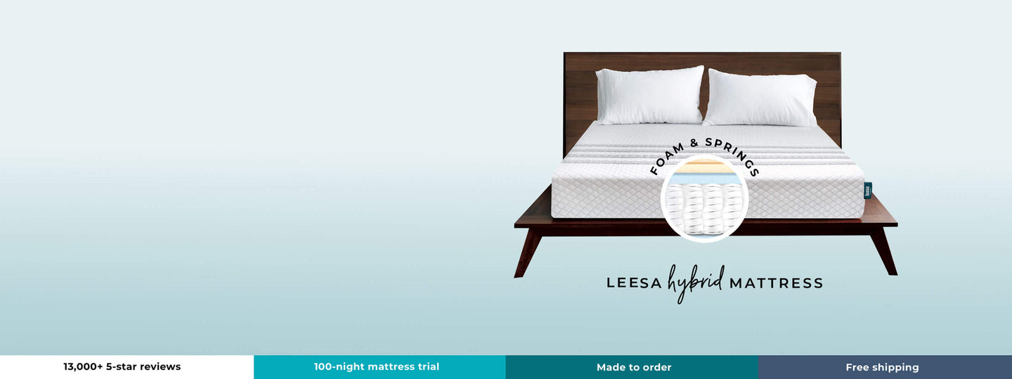 13,000+ 5-star reviews - 100-night mattress trial - made to order - free shipping - leesa hybrid mattress