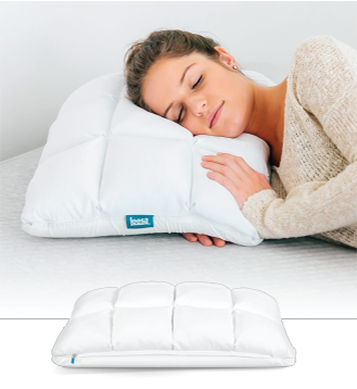 woman laying on quilted side of hybrid pillow