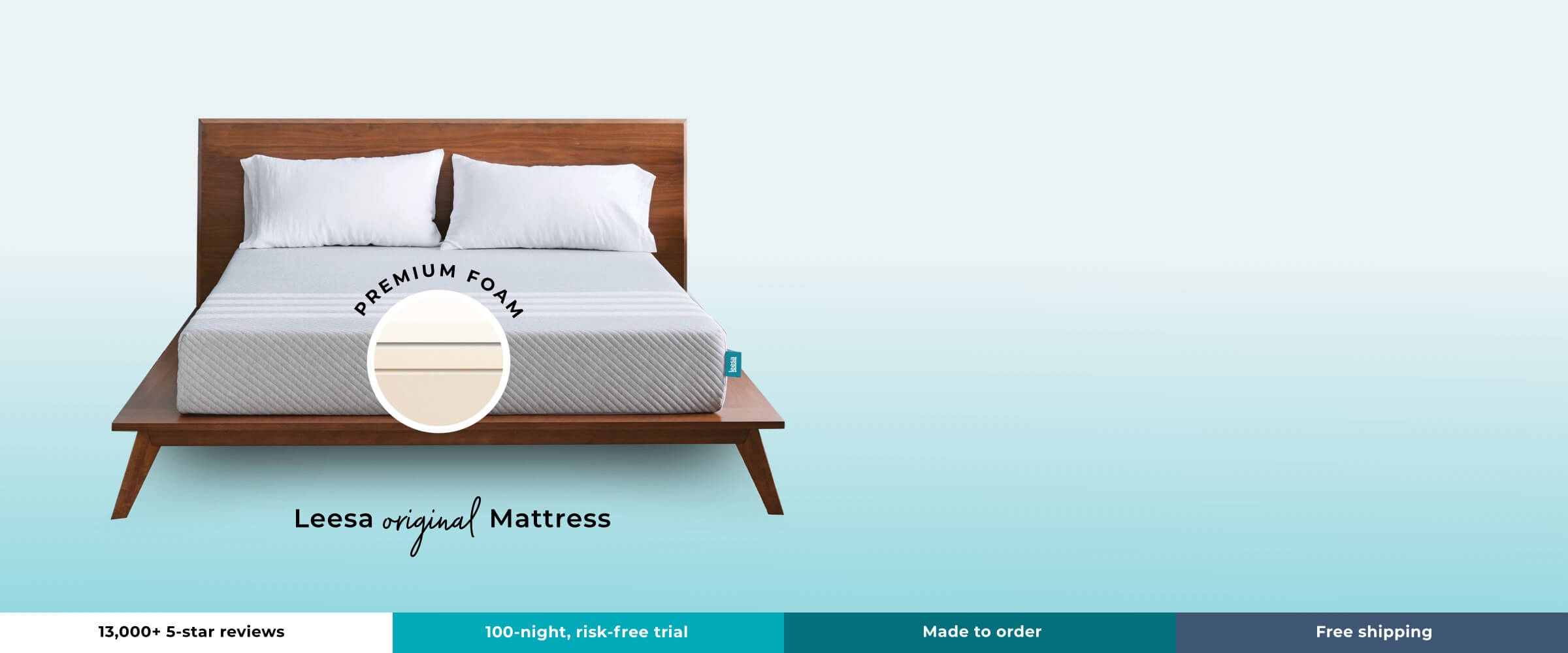 13,000+ 5-star reviews - 100-night mattress trial - made to order - free shipping - leesa original mattress