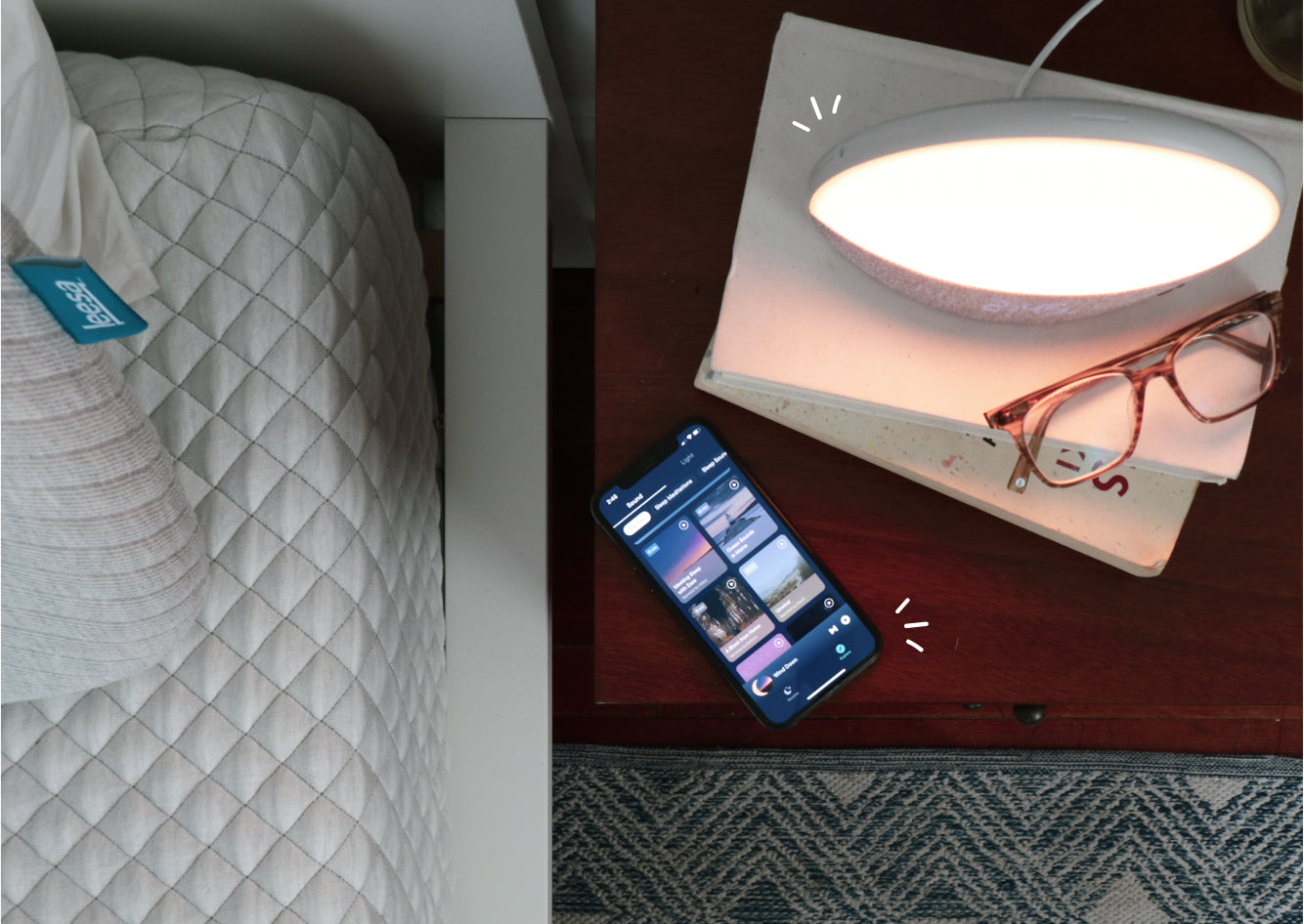 hatch restore light on bedside table with app open