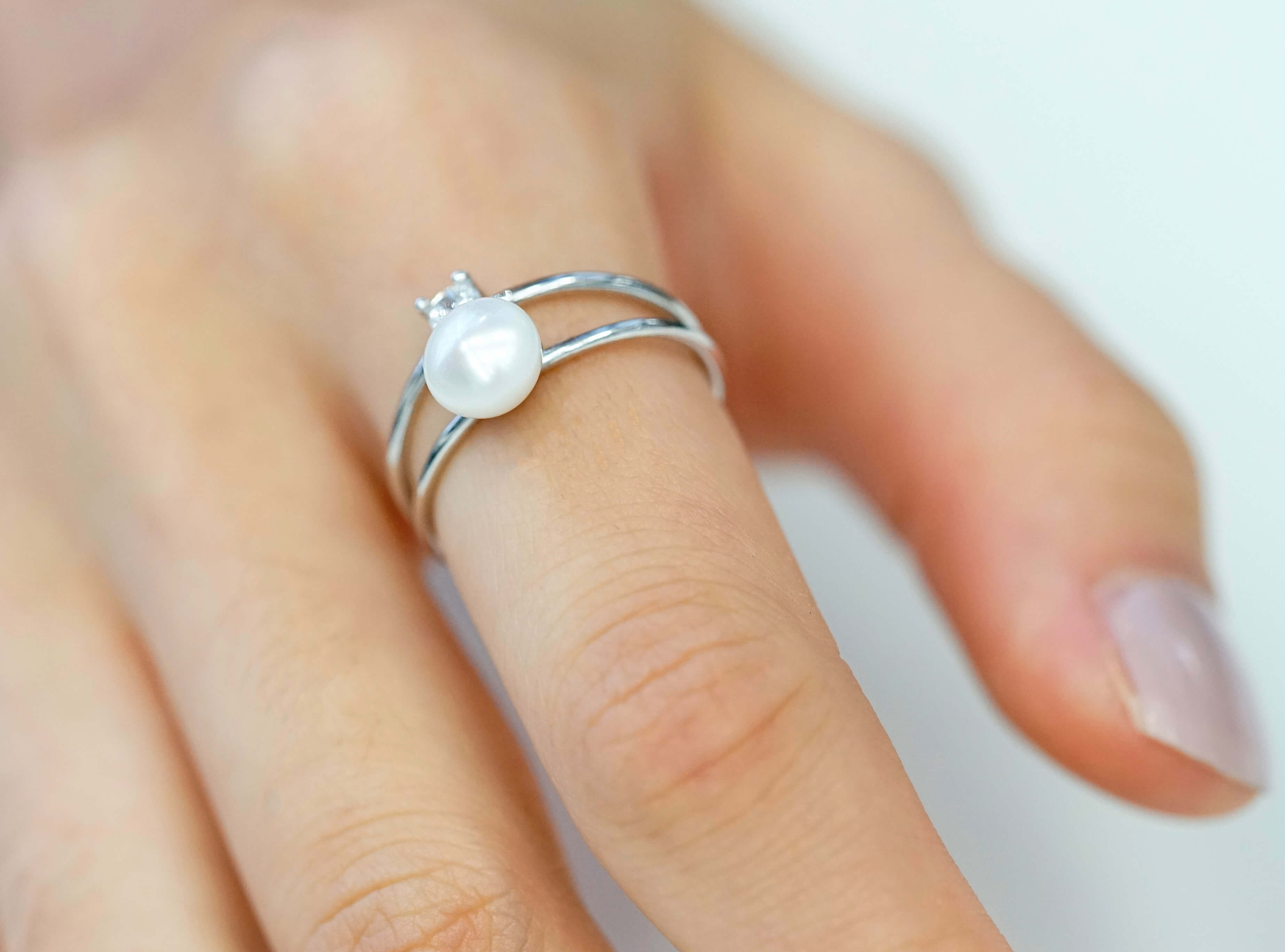 Pearl engagement ring