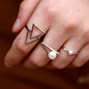 Double triangle silver ring