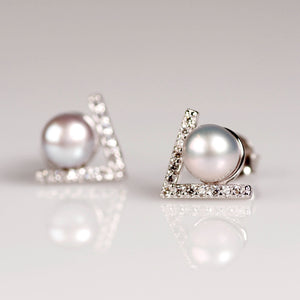 Grey pearl stud earrings