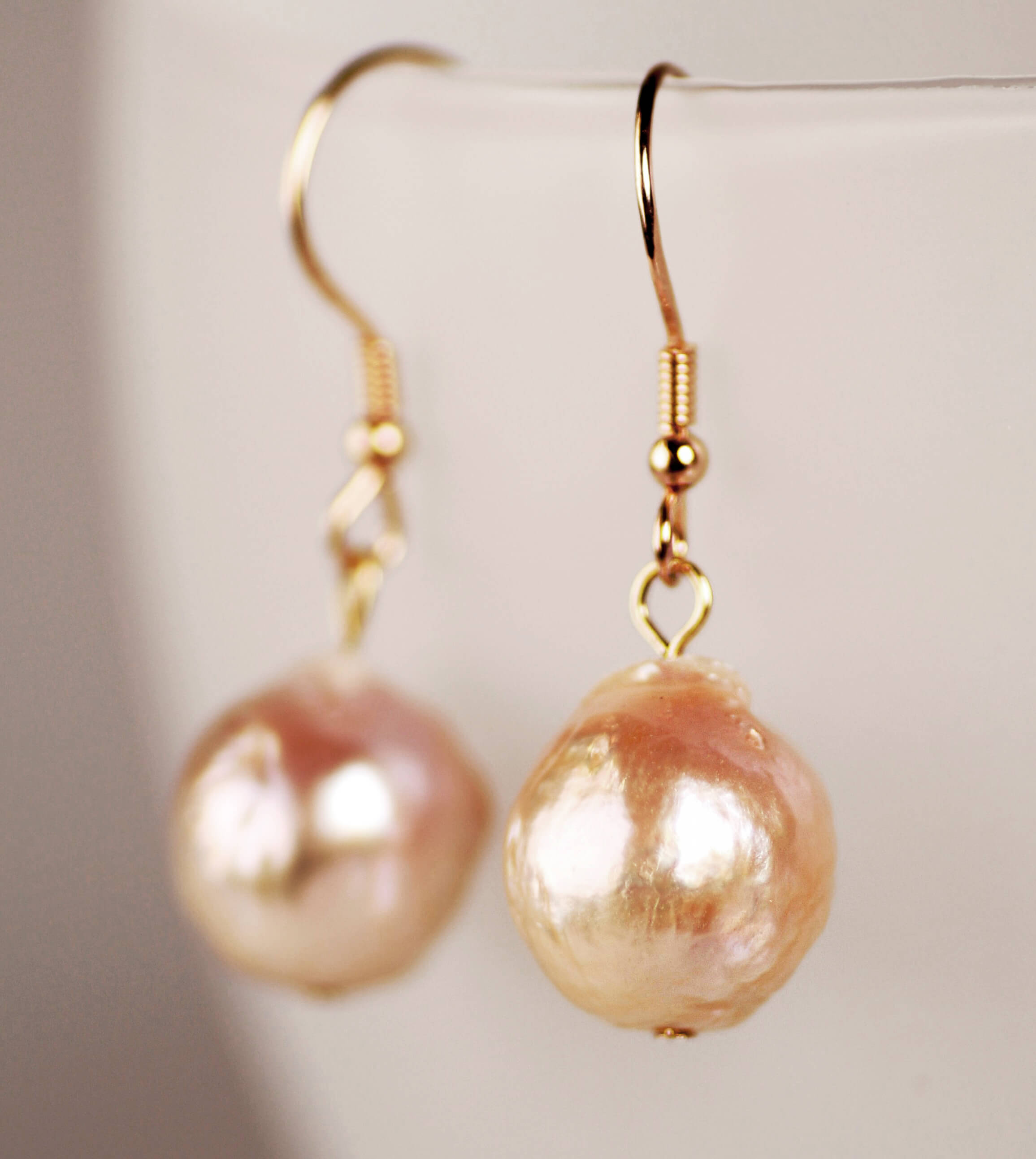 Pink baroque pearl earrings