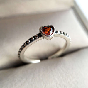 Red heart silver ring