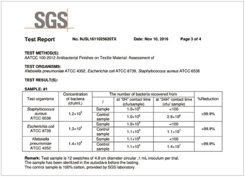 SGS certification test AATSS100 Antimicrobial Fabric