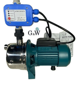 G&W 1 HP 110 V Tankless Shallow Well JET and Booster Pump With Smart Controller