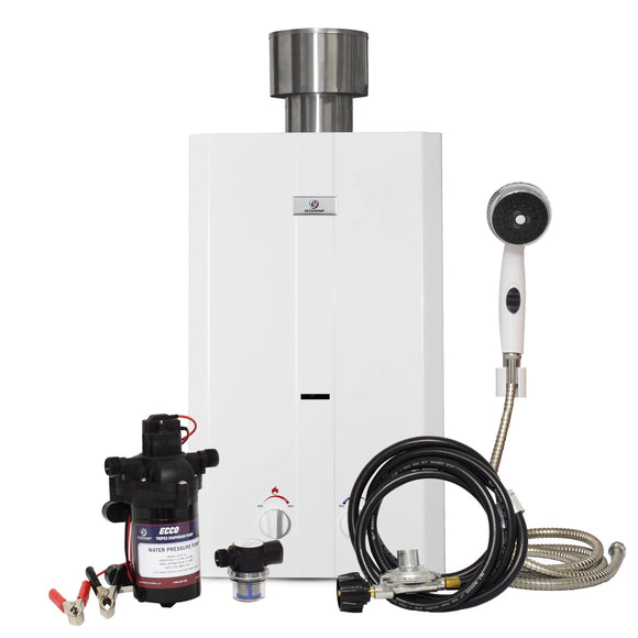 Eccotemp L10 Tankless Water Heater w/ EccoFlo, Strainer & Shower Set