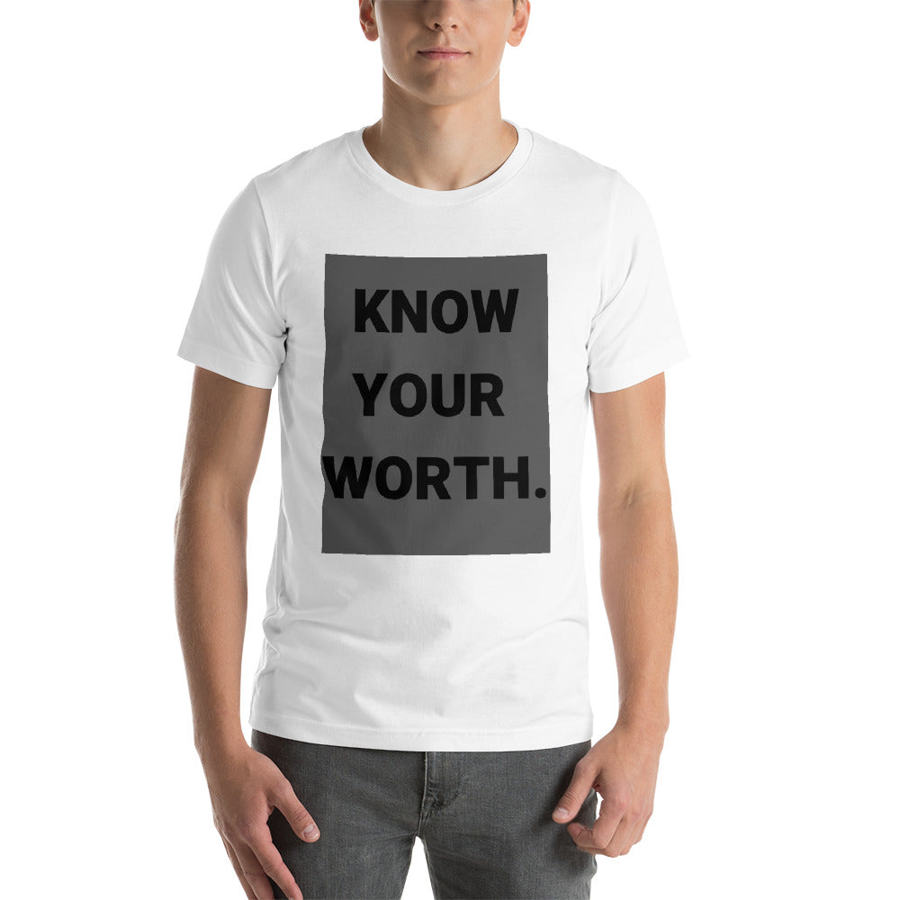 men's know your worth tee Short-Sleeve Unisex T-Shirt - Weka Collections LLC