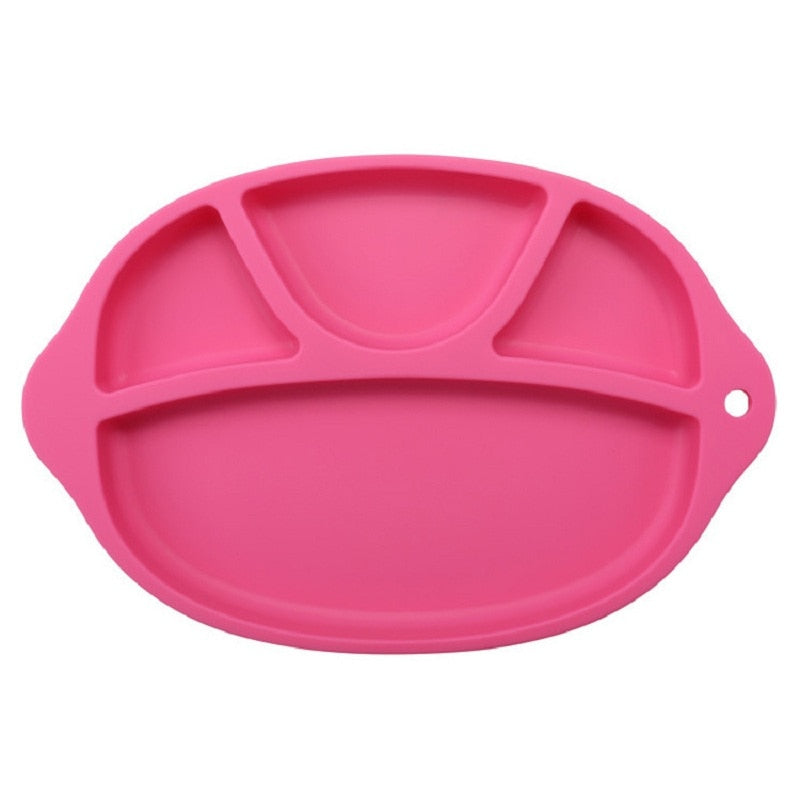 Silicone Sectioned Dinner Plate with non-slip dotted base