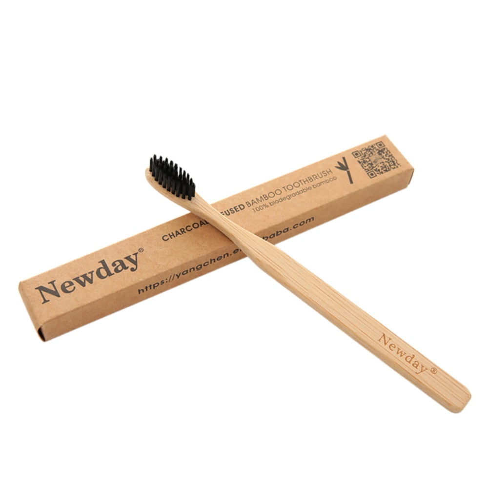 Bamboo Charcoal Wooden Toothbrush For Kids And Adults