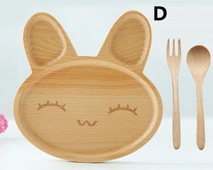 Rabbit Face Wooden Dinner Plate with Fork and Spoon set