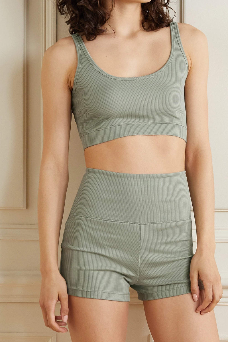 Skin Loungewear India cropped ribbed stretch-Pima cotton jersey top