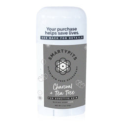 SmartyPits Deodorants Sensitive Skin Formula- Charcoal + Tea Tree