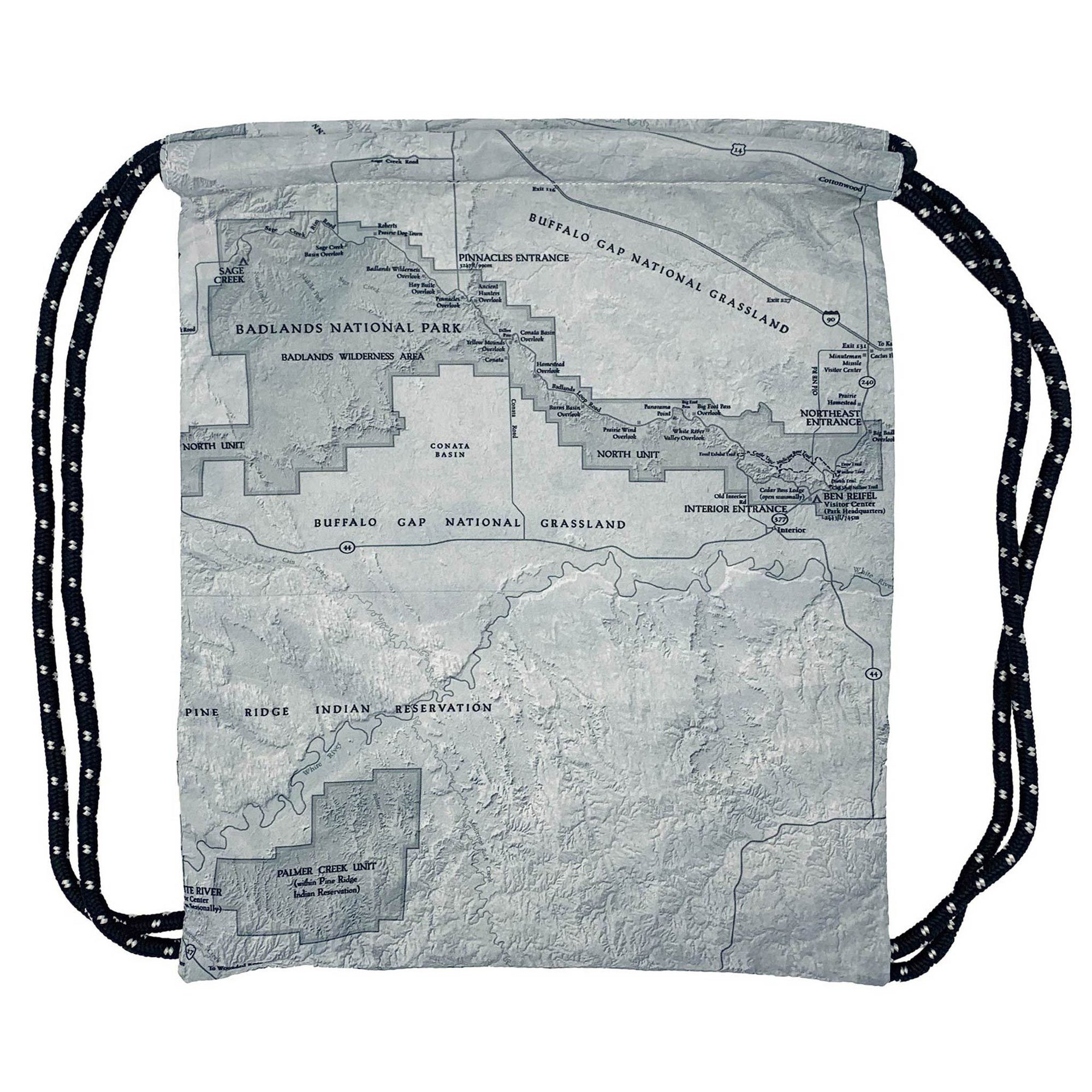 Badlands National Park Black and White Map Daypack