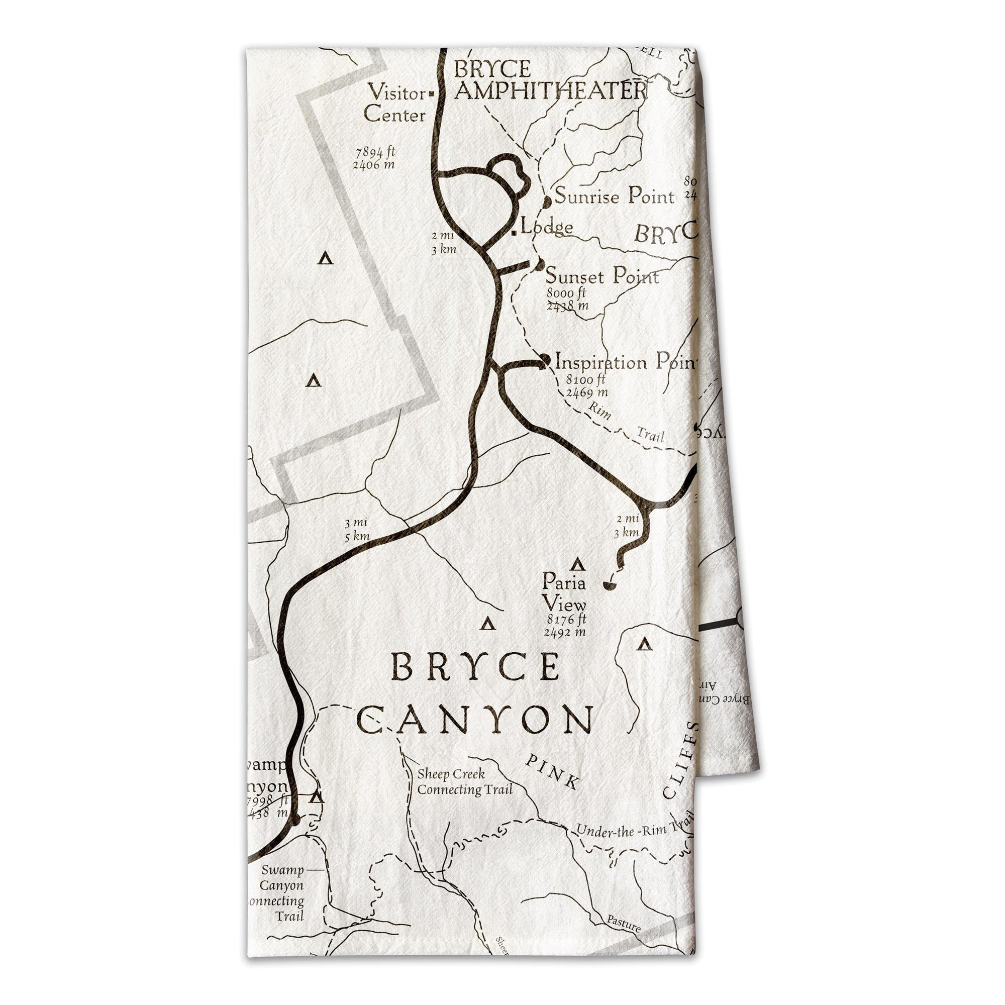 Bryce Canyon National Park Line Map Towel