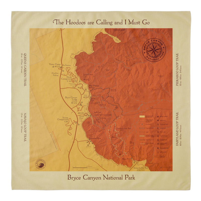Bryce Canyon Trail Map Square Bandana