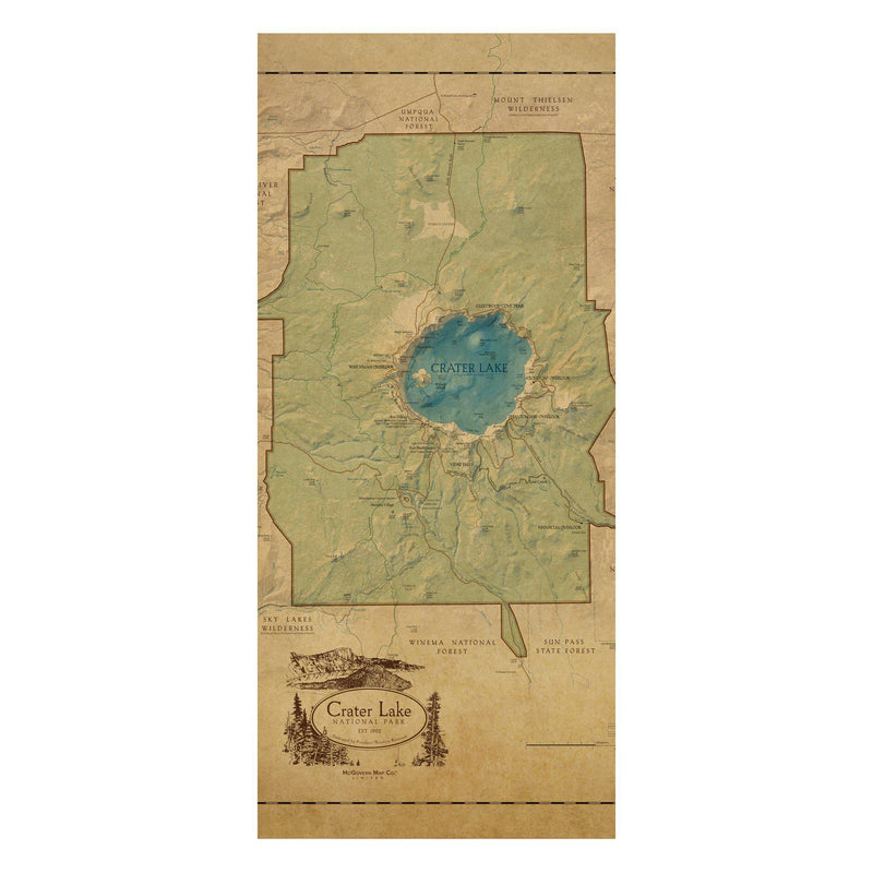 Crater Lake National Park Map Scarf