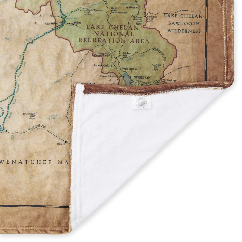 North Cascades National Park Map Blanket