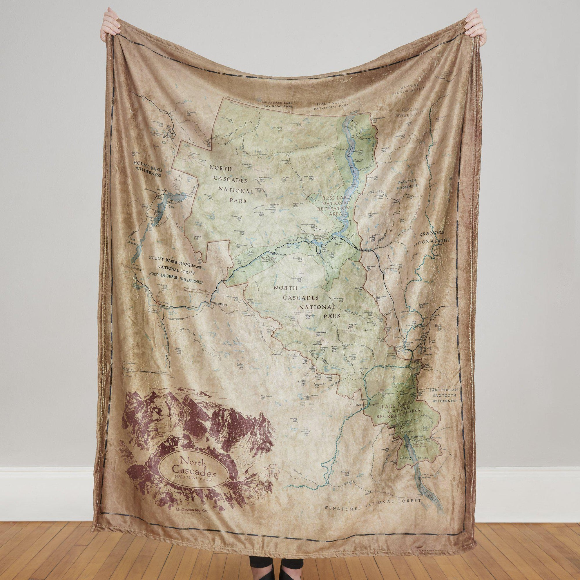 North Cascades National Park Map Blanket - McGovern & Company
