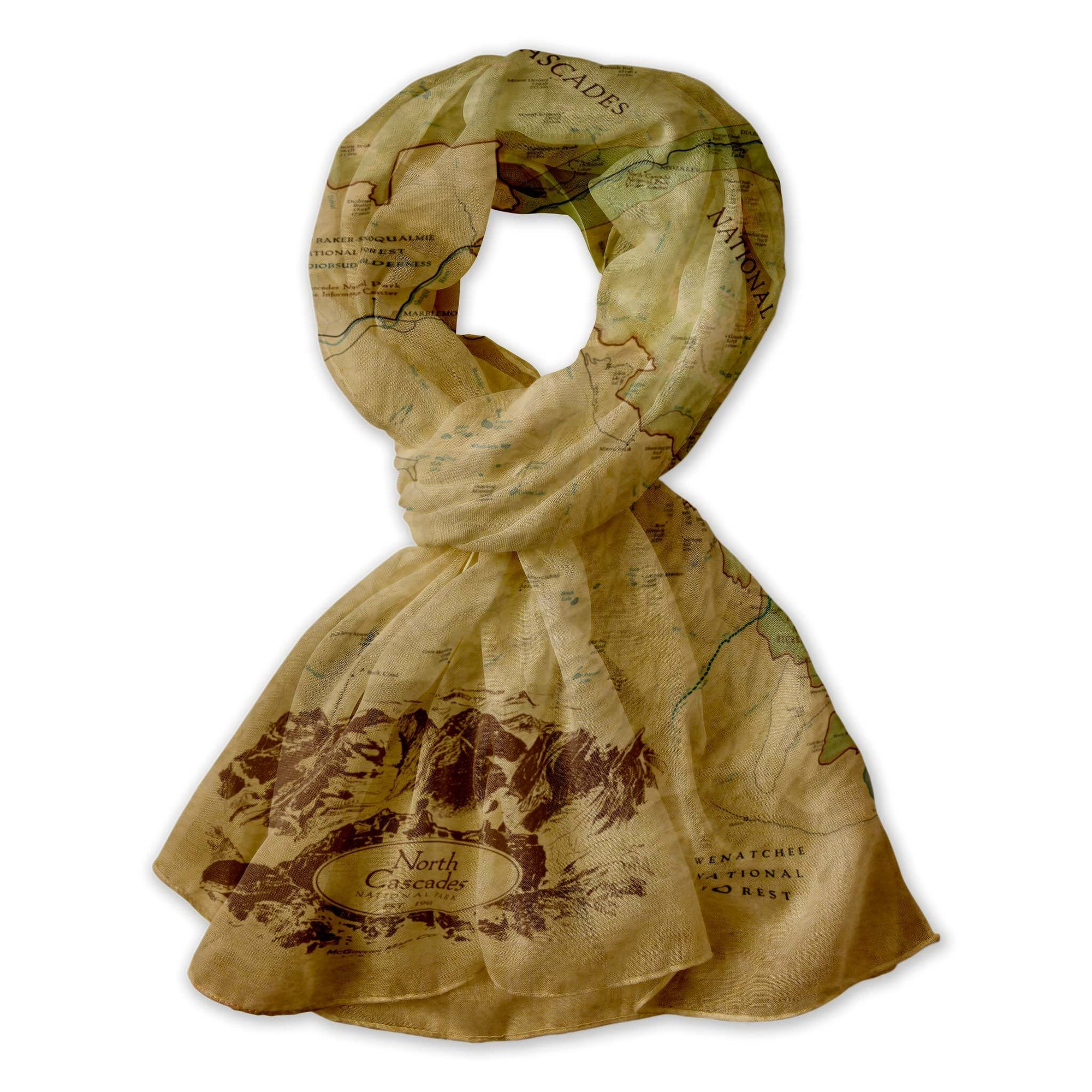 North Cascades National Park Map Scarf
