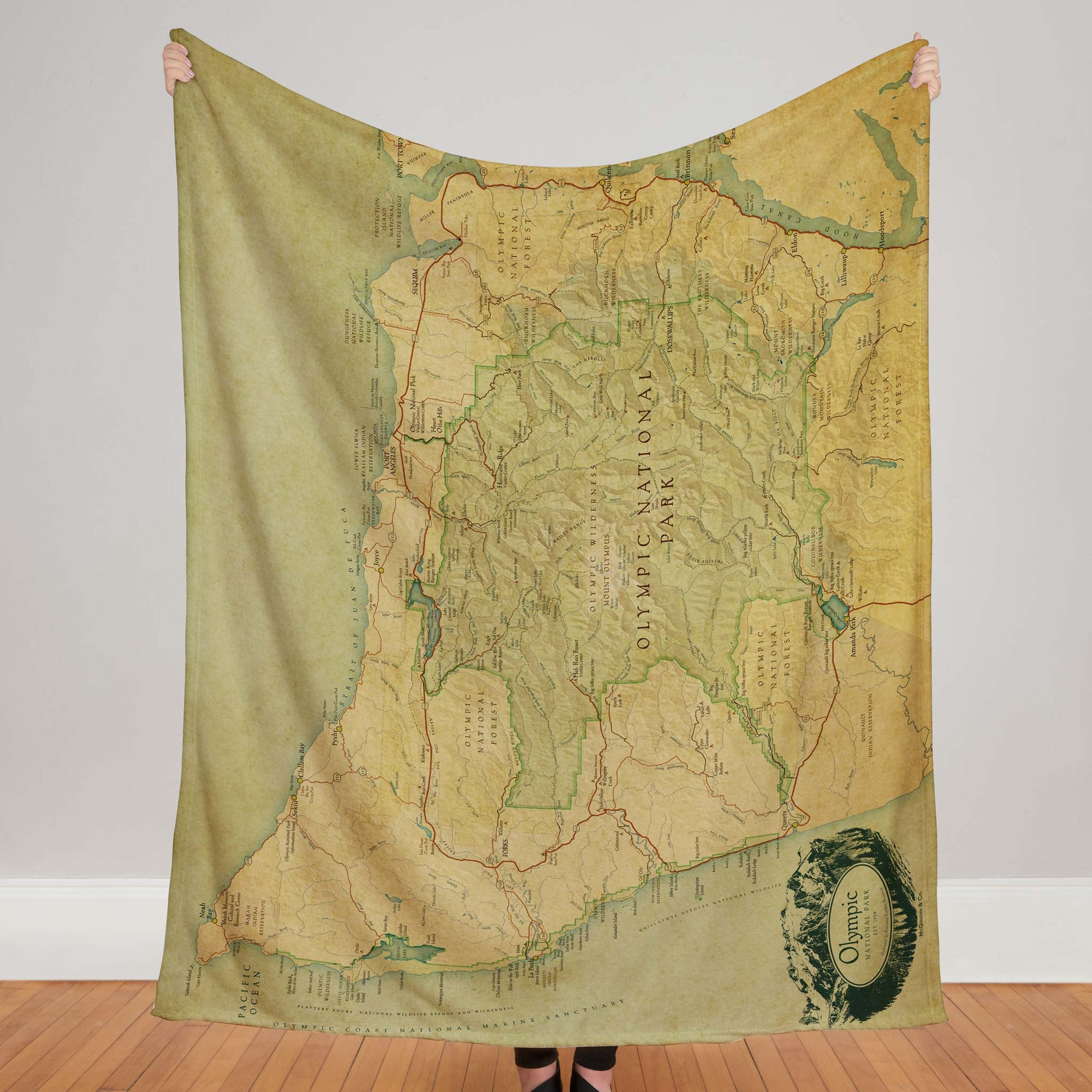 Olympic National Park Map Plush Blanket