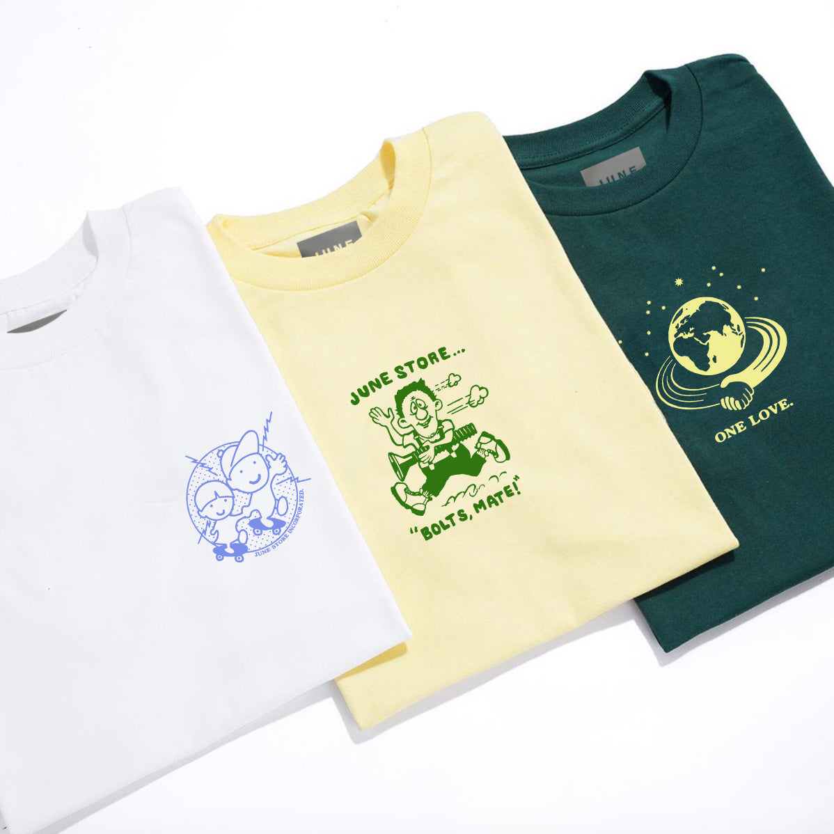 June - 'GLOBE' Mens Tee - White, Green