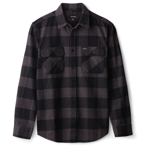 Brixton - Bowery L/S Flannel Shirt - Black / Steel