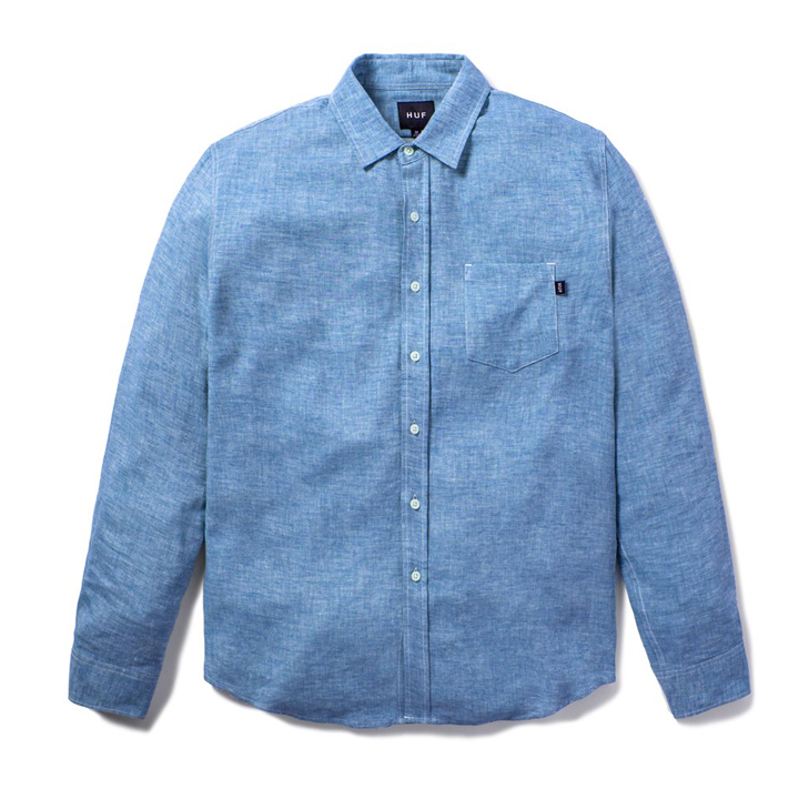 Huf - Course L/S Chambray Shirt - Blue