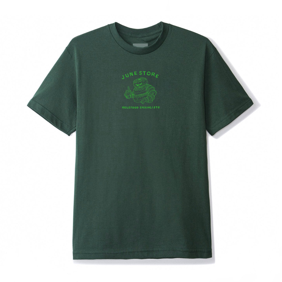 June-Hole-Food-Specialists-Mens-Tee-Green-Green-front-print