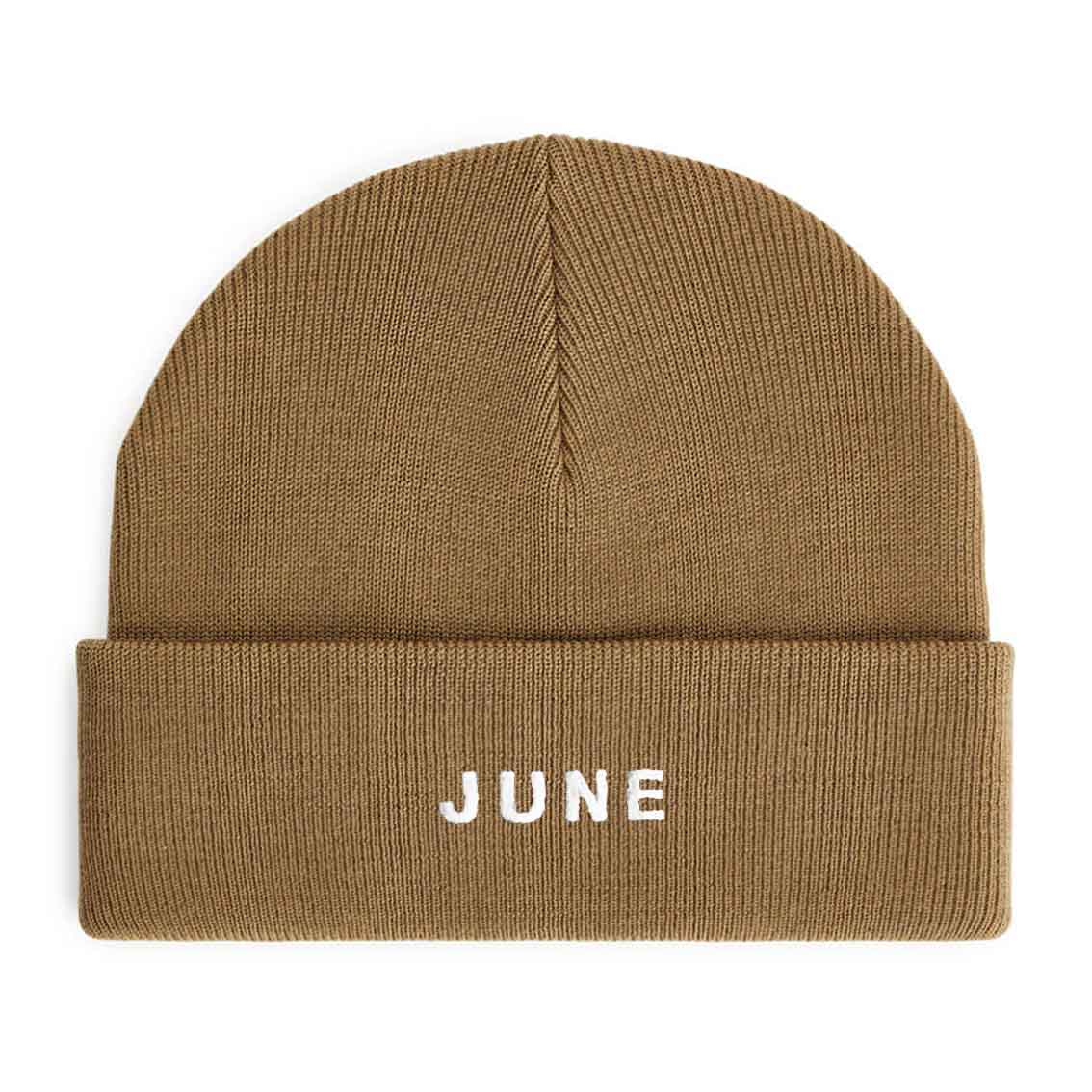 June - Puff Logo Beanie - Beige / White