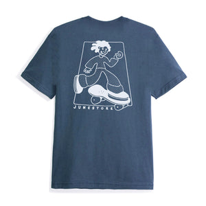 June - Wavey Mens Tee - Navy, White