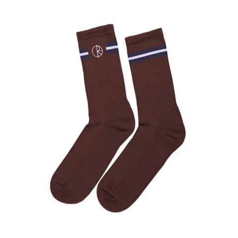 Polar Skate Co. - Stroke Logo Socks - Brown / Navy / White