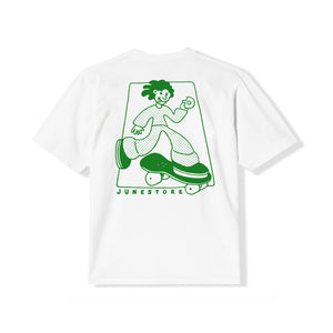 June Store - Lets Skate Youth Tee - White, green
