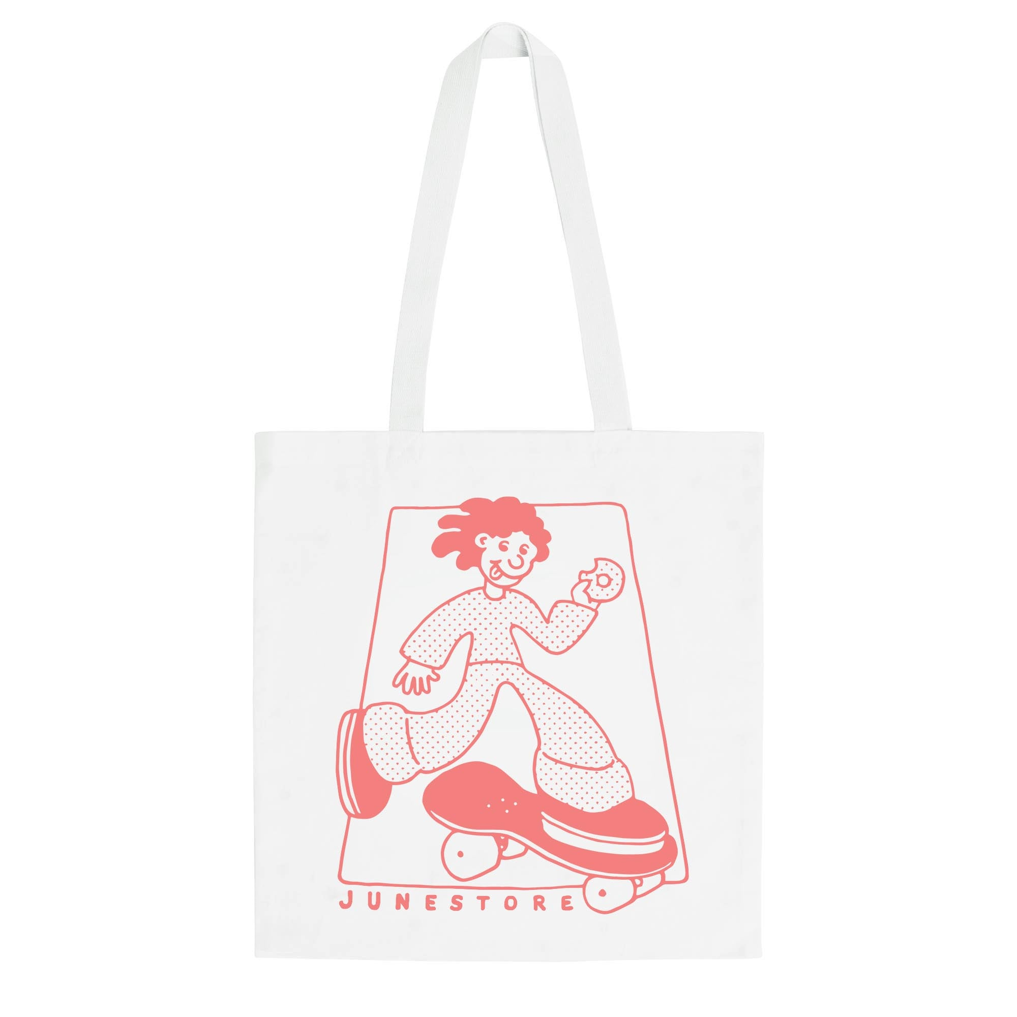 "June - ""Wavey"" Tote Bag - White, Salmon"