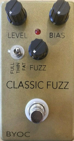 BYOC Classic Fuzz Pedal New ASSEMBLED Gold Painted